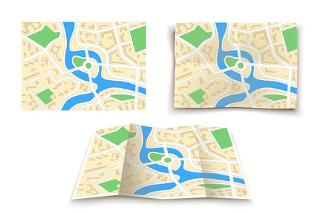 illustration of set of paper maps of city in different variations on white Illustration
