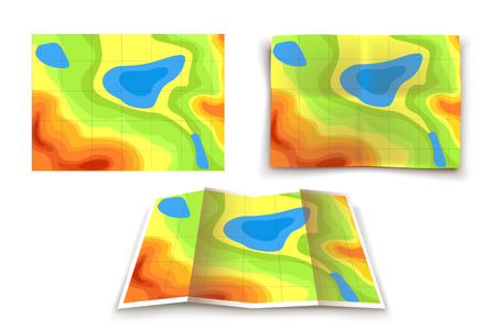 lake district: illustration of set of different variations of mountain map on white background