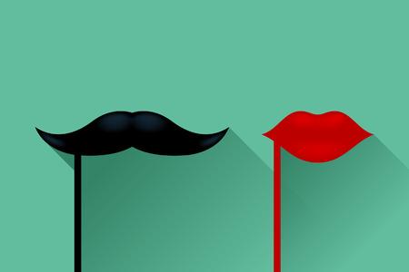 ilustración de bigotes masculinos y femeninos labios sobre fondo verde Ilustración de vector
