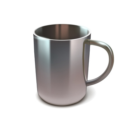 water black background: illustration of realistic steel cup on white background with shadow