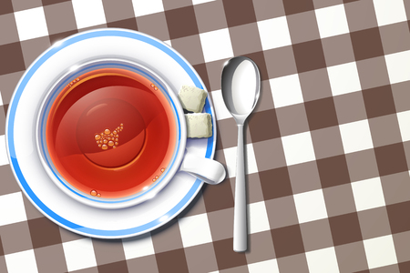 a tablecloth: illustration of cup of tea on tablecloth