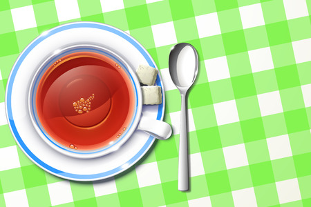 directly: illustration of cup of tea on green tablecloth