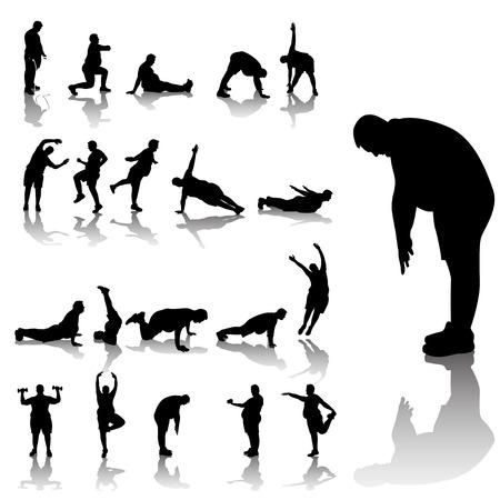 exercising: illustration of set of fat yoga athletes
