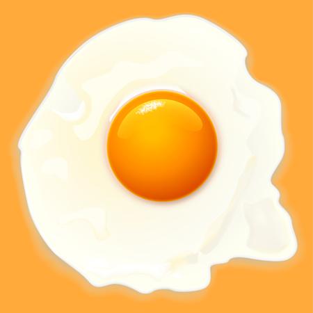 close up food: illustration of cooked egg on orange background