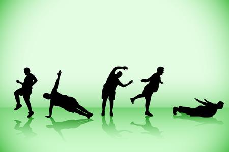 zen like: illustration of fat athlete with background Illustration