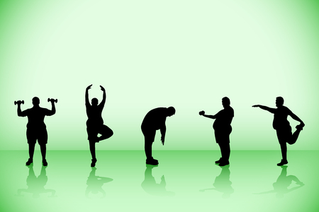 illustration of set of eco yoga with fat silhouettes
