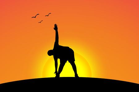 zen like: one of fat yoga on sunset set Illustration