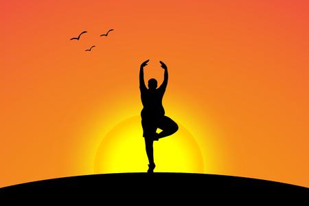 zen like: illustration of yoga at sunset