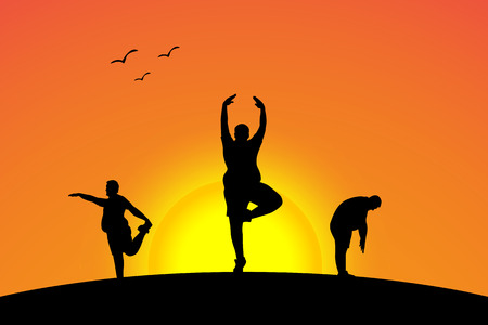 yoga sunset: illustration of sunset yoga athletes