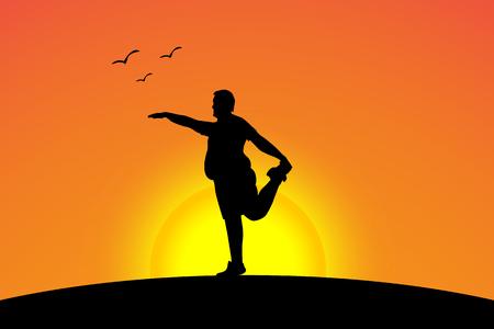 zen like: illustration of fat yoga on sunset