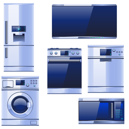major household appliance: illustration of different kitchen equipment coloured realistic