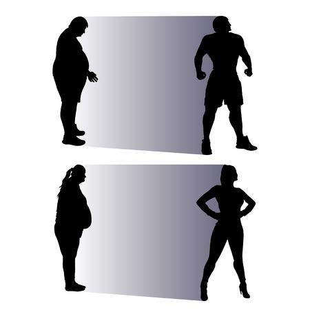 adult man: illustration of silhouette fat people becoming normal Illustration