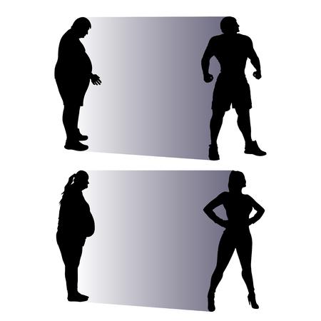 hombre flaco: ilustraci�n de la gente gorda silueta convertirse en normales Vectores