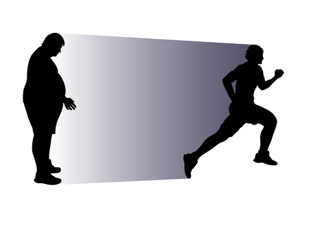 illustration of fat people and running athlete in  silhouette