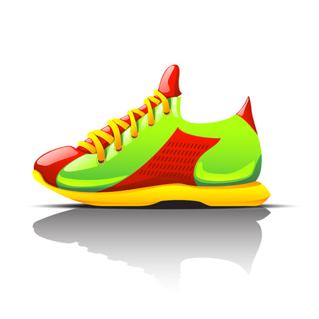 illustration of colored sneaker view from left side with shadow. shoe is red green yellow colored. with shadow