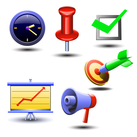 okey: illustration of set of different items for business such as clock, arrow, loudspreaker, diagramm, pointerm and ok. itema has shadows
