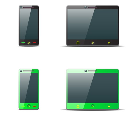 illustraion: cartoon illustraion of black and green phone and tablet on white background