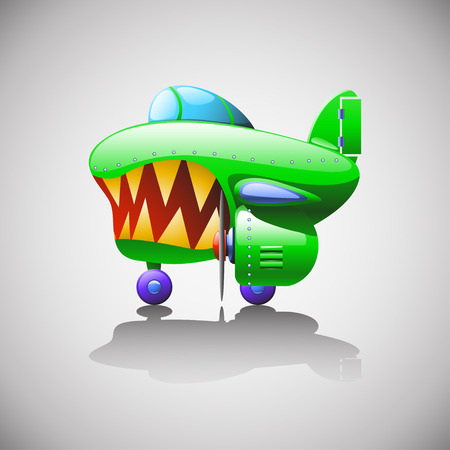 private jet: cartoon illustration of green military single airplane standing at floor with shadow Illustration