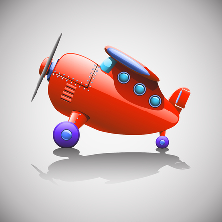 commercial airline: cartoon illustration of red single airplane standing at floor with shadow