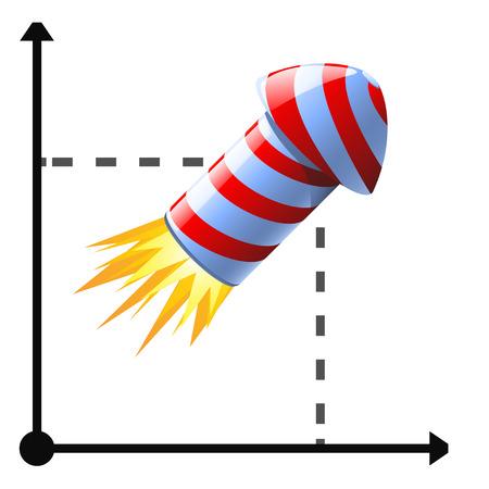 business flying: cartoon illustration of flying rocket at business diagram