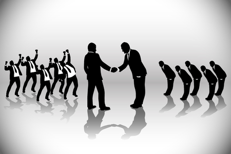 business deal: illustration of business deal with two teams