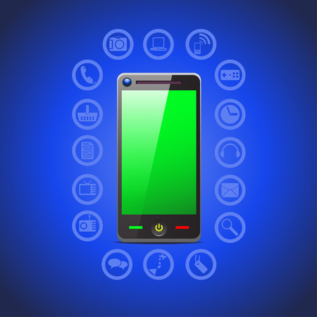 joypad: illustration of smart phone tool icons such as phone, camera, computer, internet, joypad, clock, headphones mail and other on blue background