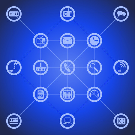 navigate: illustration of different tool icons for smart phone such as pc, phone, mail, camera, play, navigate and other on blue background Illustration