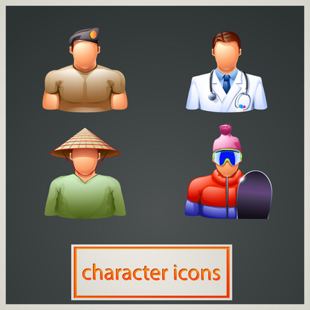trooper: illustration of set of different characters such as asiat, military, doctor, snowboader
