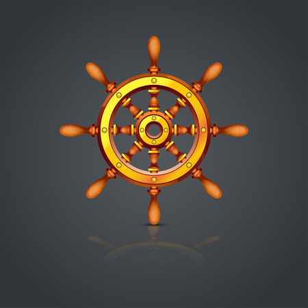 illustratie van het stuurwiel van het schip als het vervoer over water