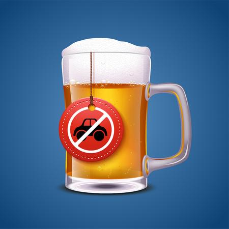 drunk driving: illustration of glass full of beer wit hlabel dont drive drunk on blue background