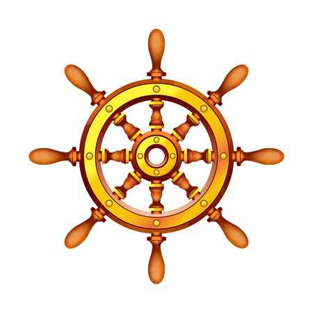 spindle: illustration of wooden boat steering wheel on white background Illustration