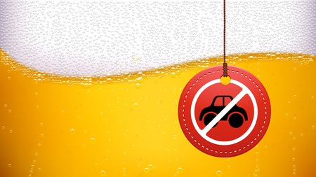 dwi: illustration of beer background with dont drive drunk label on it