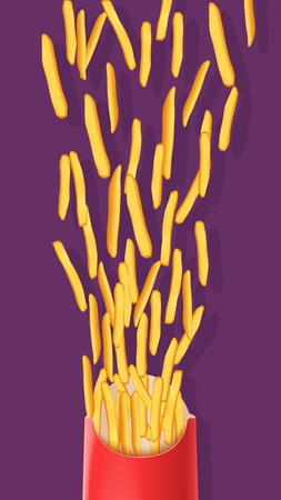 crisp: illustration of pack of french fries falling out on violet background