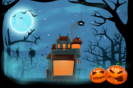 scary forest: illustration of single house at dark night in scary forest Illustration