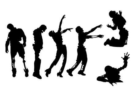illustration of set of zombies in different poses on white background
