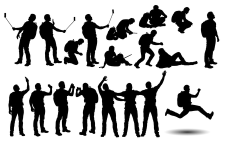 illustration of set of silhouettes of male tourist in different poses Ilustração