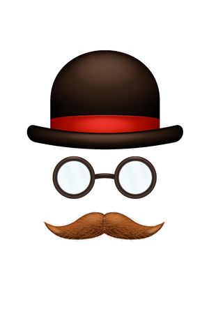 illustration of male mustache hat and glassws on white background Illustration