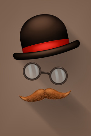 snobby: illustration of male hat with glassws and mustaches Illustration