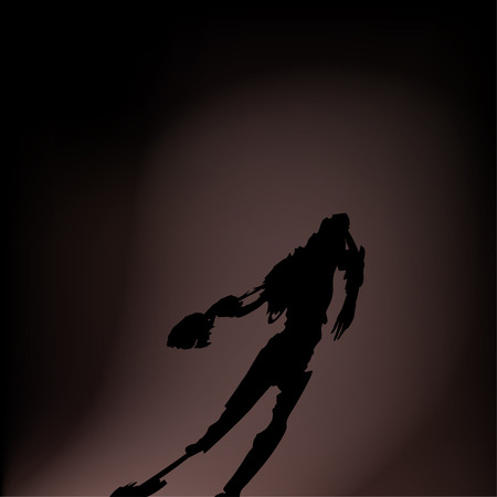 death head holding: illustration of shadow zombie without head on the floor