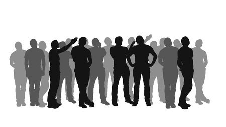 illustration of male silhouette crowd staying and watching on white background Ilustração