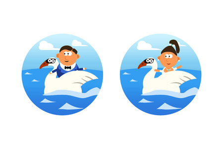 swans: illustration of groom and bride floating in water on swans