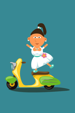 extremely: illustration of bride extremely drives colored scooter