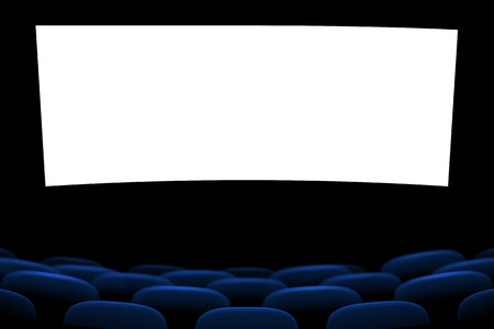 cinema screen: illustration of blue cinema seats in the dark with screen