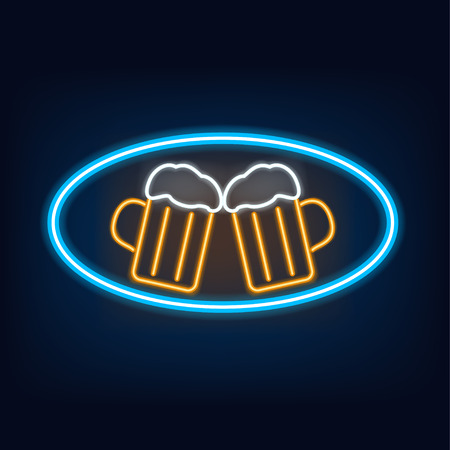 beer icon: illustration of lighting banner of glasses on beer