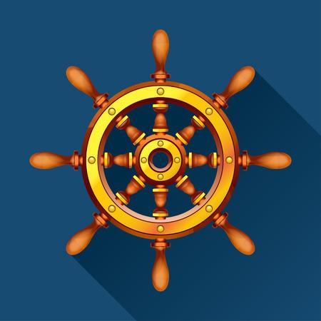 spindle: illustration of wooden boat steering wheel on blue background Illustration