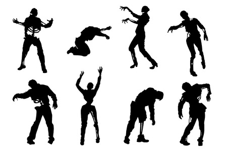 hand in hand: illustration of set of zombies in different poses on white background