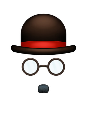 monopoly: illustration of small black mustaches hat and glasses on white background Illustration