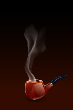 pipe smoking: illustration of smoking pipe with smoke on dark background