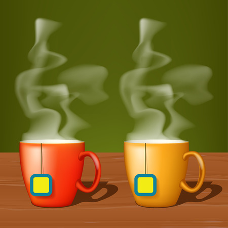 wood surface: illustation of two cups of tea standing on wood surface with steam