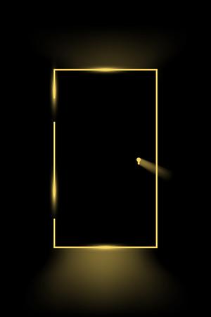 illustration of little light came through closed door Illustration